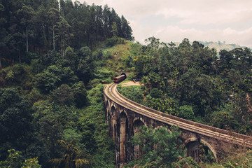 Obraz Train on nine arch bridge in Ella Sri Lanka - fototapety do salonu