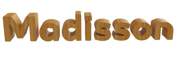 madisson in 3d name with wooden texture