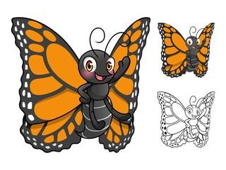 Monarch Butterfly Cartoon Character Design Vector Illustration