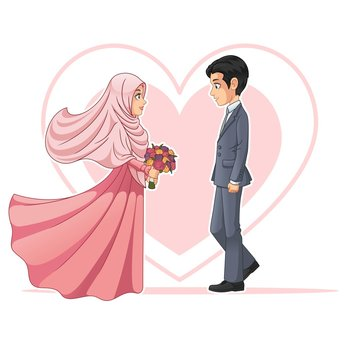 Muslim Bride and Groom Looking at Each Other Cartoon Character Design Vector Illustration