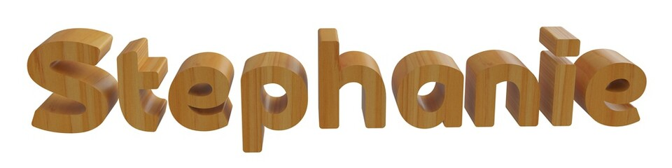 stephanie in 3d name with wooden texture