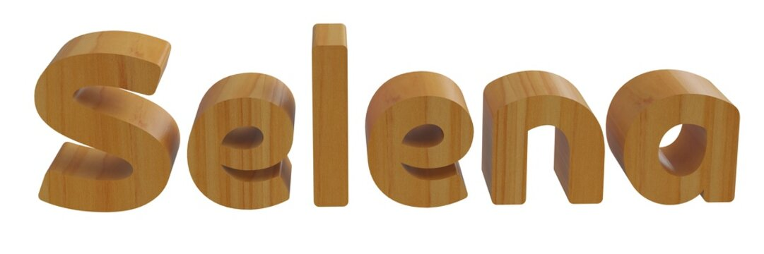 selena in 3d name with wooden texture