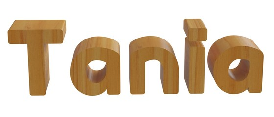 tania in 3d name with wooden texture