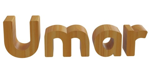 umar in 3d name with wooden texture