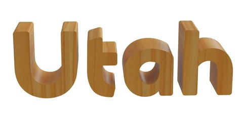 utah word in 3d with woden texture
