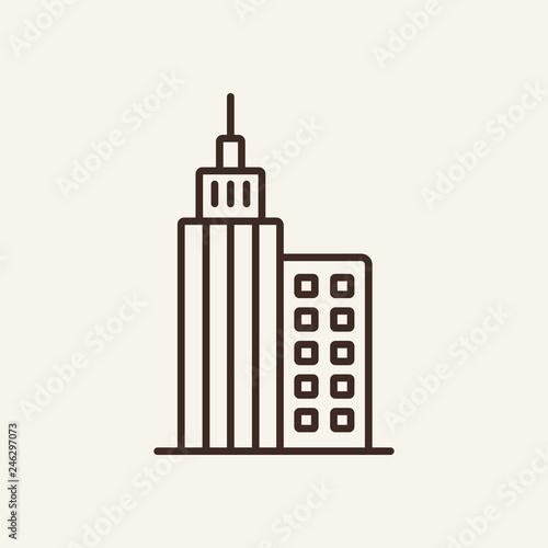 Skyscraper line icon  High building construction on white