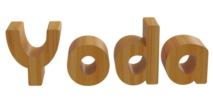 yoda in 3d name with wooden texture