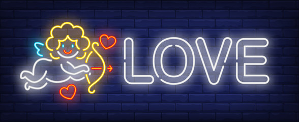 Love neon text and cute cupid with bow. Saint Valentines Day design. Night bright neon sign, colorful billboard, light banner. Vector illustration in neon style.