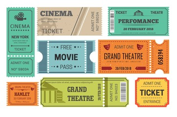 Ticket cinema and theatre admission or paper pass Wall mural