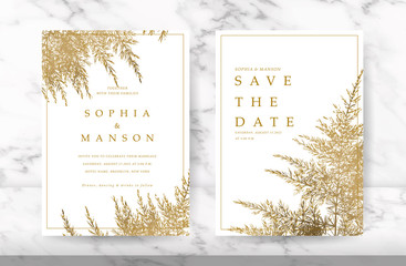 Wall Mural - Luxury Natural Wedding Card for summer and spring seasons. Design With golden leaves minimal style decoration. Vector
