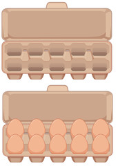 Set of egg in carton