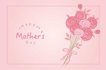 Hand drawn rose flower frame illustration for mother's day