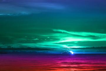 sun dawn back on morning sky silhouette cloud