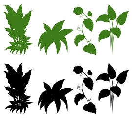 Set of silhouette plant