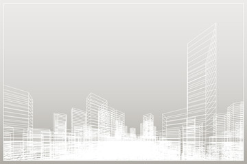 Fototapete - Abstract wireframe city background. Perspective 3D render of building wireframe.