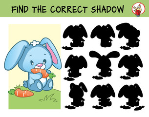Funny little rabbit with carrot. Find the correct shadow. Educational matching game for children. Cartoon vector illustration