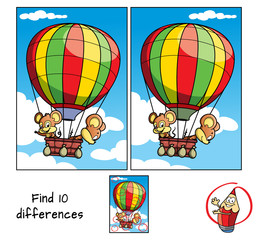 Two little mice are traveling in a hot air balloon. Find 10 differences. Educational game for children. Cartoon vector illustration