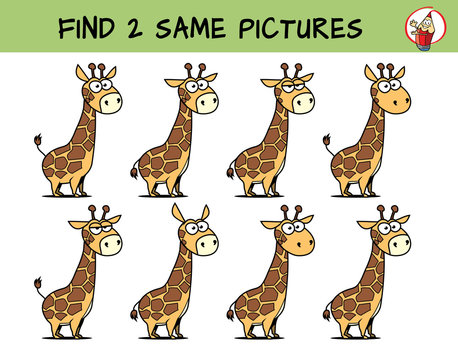 Funny giraffe. Find two same pictures. Educational game for children. Cartoon vector illustration