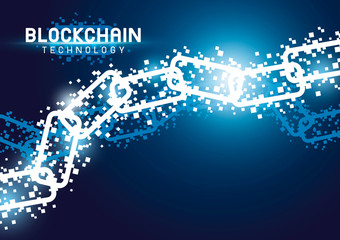 Blockchain technology background vector illustration