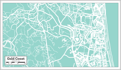 Gold Coast Australia City Map in Retro Style. Outline Map.
