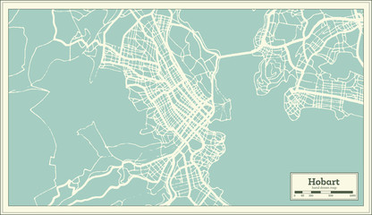 Hobart Australia City Map in Retro Style. Outline Map.