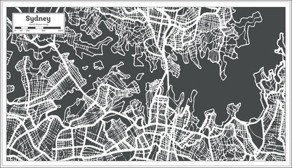 Sydney Australia City Map in Retro Style. Outline Map.