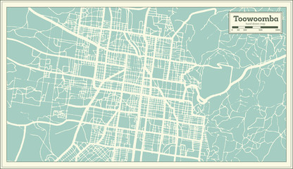 Toowoomba Australia City Map in Retro Style. Outline Map.
