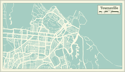 Townsville Australia City Map in Retro Style. Outline Map.