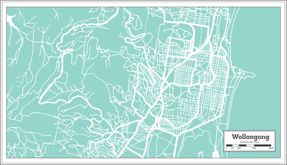 Wollongong Australia City Map in Retro Style. Outline Map.
