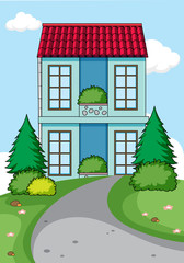 A simple house in nature background