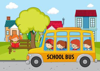Children in the school bus
