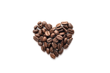 Heart shape of roasted coffee beans isolated on a white background.