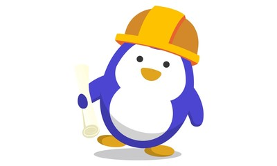Vector cartoon illustration.Cute penguin wearing engineering cap and holding paper in hand.Isolated on white background.