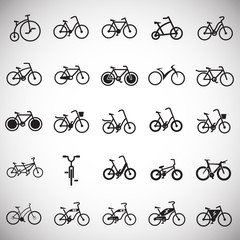 Bicycle icons set on white background for graphic and web design, Modern simple vector sign. Internet concept. Trendy symbol for website design web button or mobile app