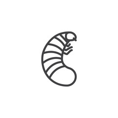 Larva pests line icon. linear style sign for mobile concept and web design. Larva insects outline vector icon. Symbol, logo illustration. Pixel perfect vector graphics