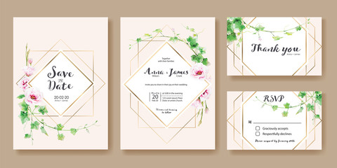 Wedding Invitation, save the date, thank you, rsvp card Design template. Vector. Greenery Ivy,  Pink Lisianthus flower.