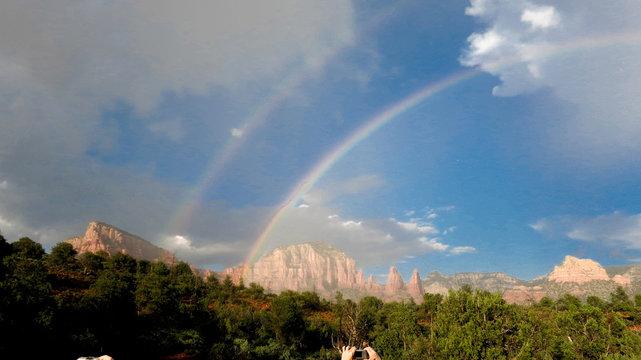 Redrock blue skies and rainbows