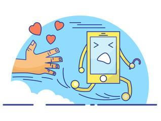 Cute cartoon concept of cellphone life