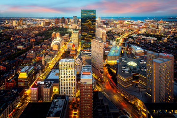 Wall Mural - An aerial night view of Boston city center