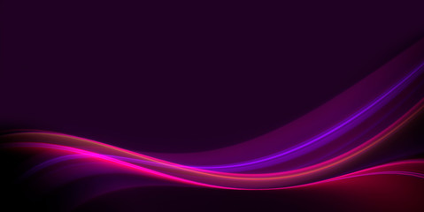 Foto op Aluminium Fractal waves Abstract neon wave on on dark background with copy space