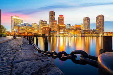 Wall Mural - Boston harbor with cityscape and skyline