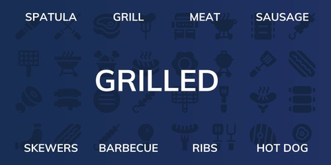 grilled icon set
