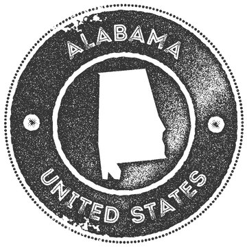 Alabama map vintage stamp. Retro style handmade label, badge or element for travel souvenirs. Dark grey rubber stamp with us state map silhouette. Vector illustration.