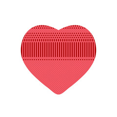 Red heart from knitted pattern
