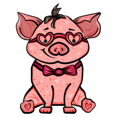 Pink pig with heart glasses. The sweet feeling of love. Symbol of the new year 2019. Valentine's Day. Vector illustration. - Vector