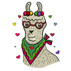 Cute Lama faces. Happy Valentine's Day. Lama with heart and glasses. Llama Alpaca. The sweet feeling of love. Valentine's Day. Vector illustration. - Vector