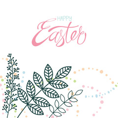 Happy easter calligraphy and decor flower isolated on white background.