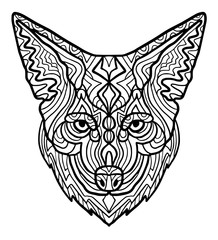 Wild beautiful coyote head hand draw on a white background. Zoo animal ethnic tribal african print suits as tattoo, logo template, decoration, coloring book sketch, Collection of animals.