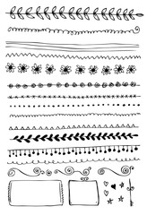 Hand drawn vector border line design elements set