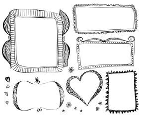 Hand drawn vector border line frames elements set